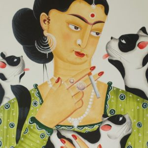 green Frida w 3 cats scaled